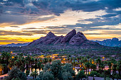 The red sandstone buttes of Papago Park in Phoenix, Arizona after sunset.