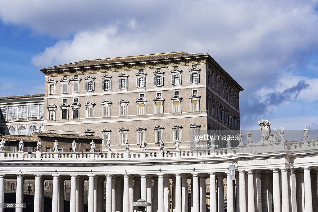 Papal Apartments and Bernini's colonnade surrounding St Peter's Square.