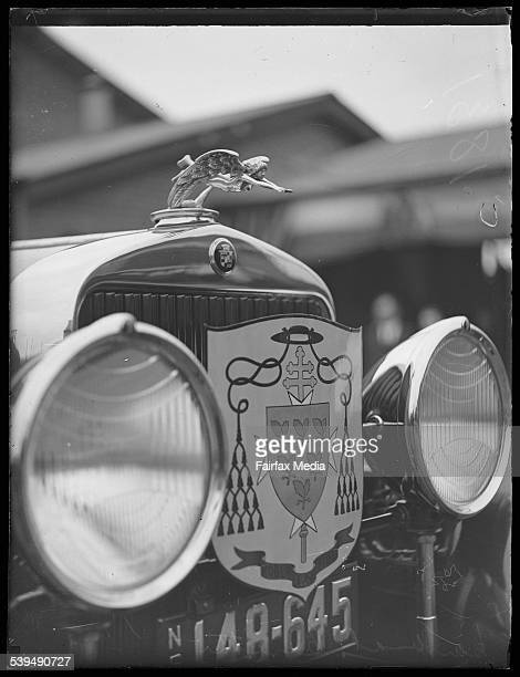 Papal Legate Cardinal Cerutti's coat of arms on the grille of a car New South Wales 1928 [picture] [nlapicvn6266061]