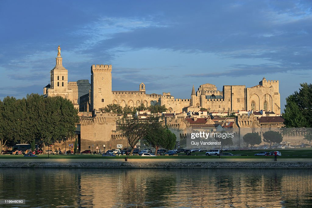 Papal Palace in Avignon over river Rhone.