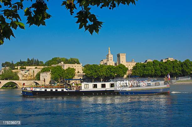 Papal Palace Notre Dame des Doms Cathedral and River Rhone Avignon Vaucluse ProvenceAlpesCote de Azur Rhone valley Provence France