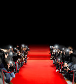 Paparazzi photographers along red carpet