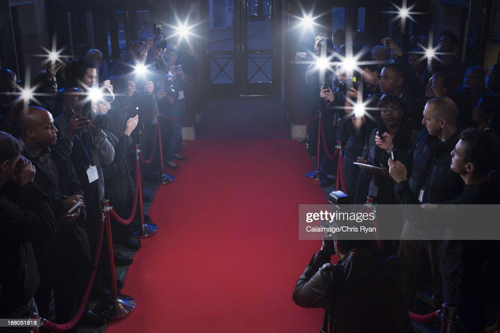 Paparazzi waiting on red carpet