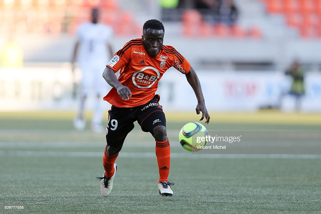 Pape Paye of Lorient during the French Ligue 1 match between Fc Lorient and Lille OSC at Stade du Moustoir on April 30 2016 in Lorient France
