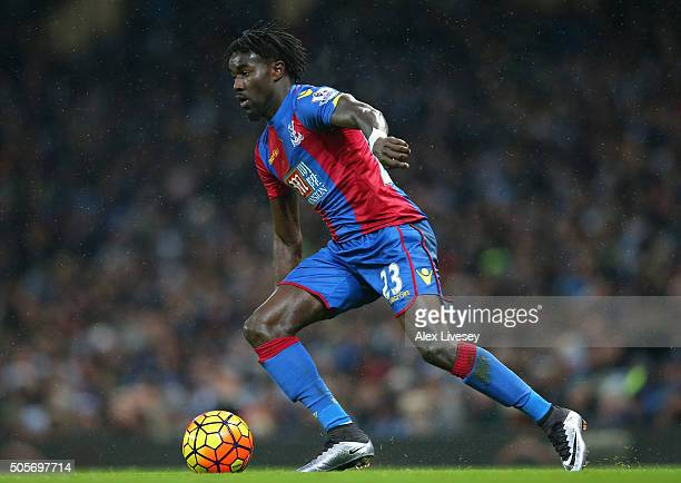 Pape Souare of Crystal Palace controls the ball during the Barclays Premier League match between Manchester City and Crystal Palace at the Etihad...