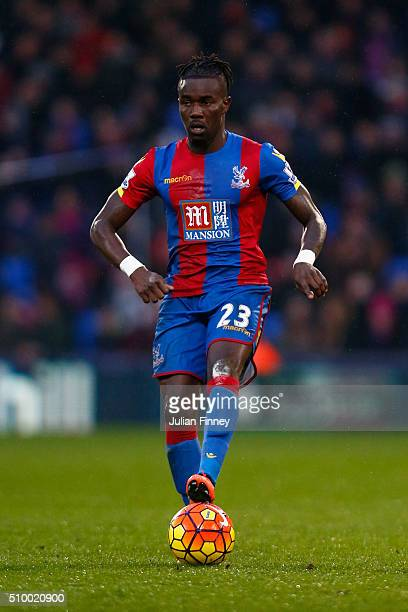 Pape Souare of Crystal Palace in action during the Barclays Premier League match between Crystal Palace and Watford at Selhurst Park on February 13...