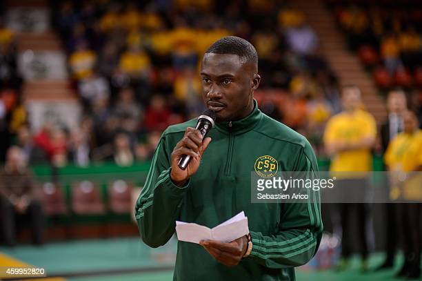 PapePhillpe Amagou read a speach before the 20142015 Turkish Airlines Euroleague Basketball Regular Season Date 8 game between Limoges CSP vs Unicaja...