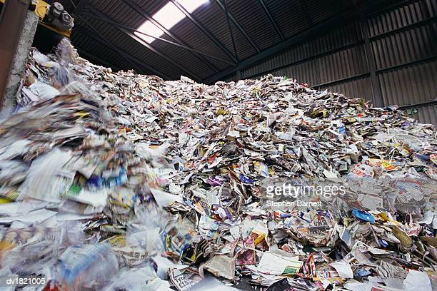 Paper and Magazines for Recycling Stored in a Warehouse