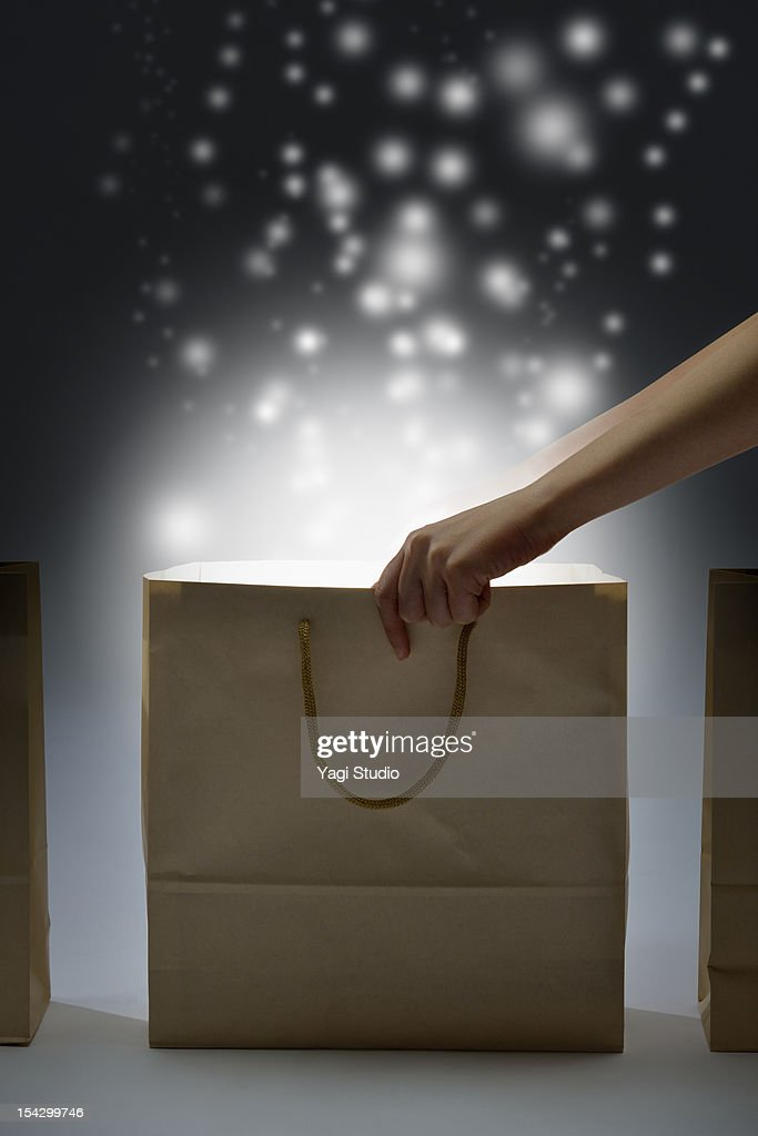 Paper bag is shining : Stock Photo