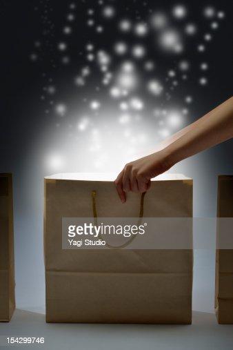 Paper bag is shining : Foto de stock
