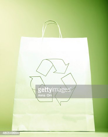 Paper bag with ecology sign : Stock Photo