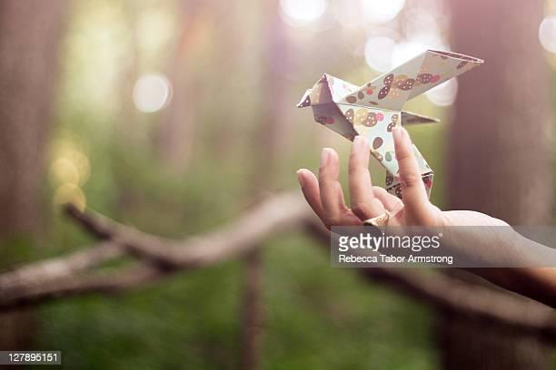 Paper bird in hand
