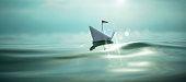 Paper Boat Waves Sun