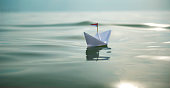Paper Boat Sundown at Sea