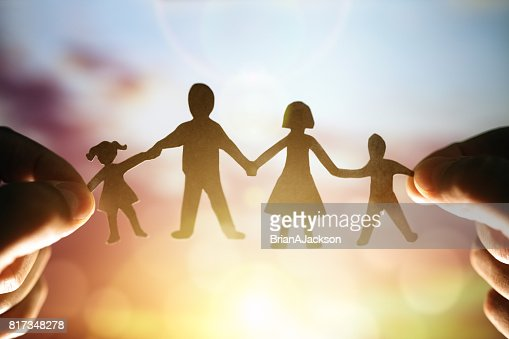Paper chain family : Stock Photo