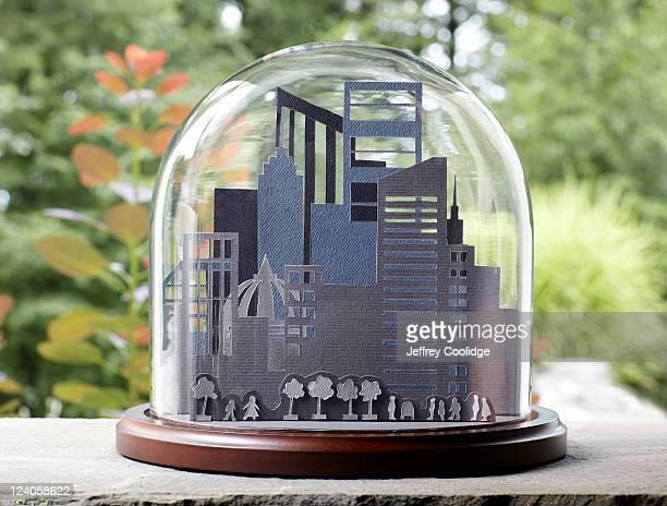 Paper Cityscape under Glass Dome