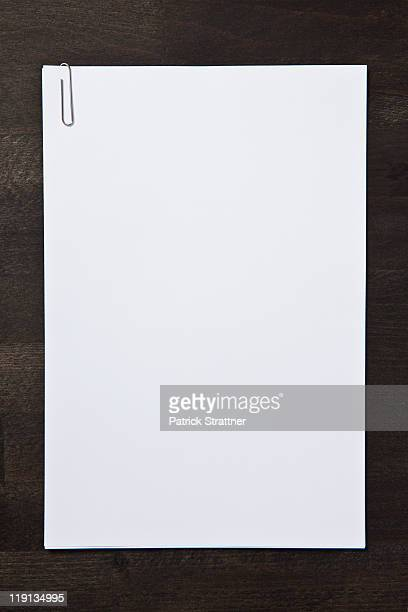 Paper clipped blank paper