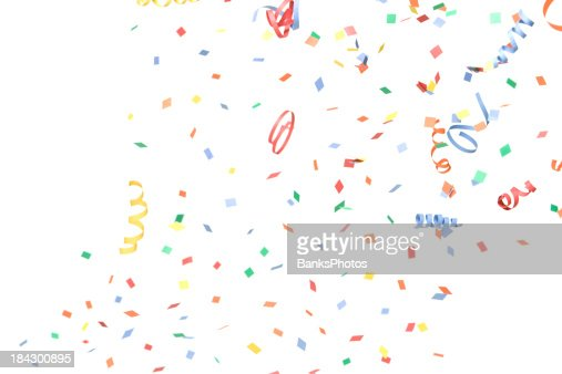Paper Confetti and Streamers Falling, Isolated on White