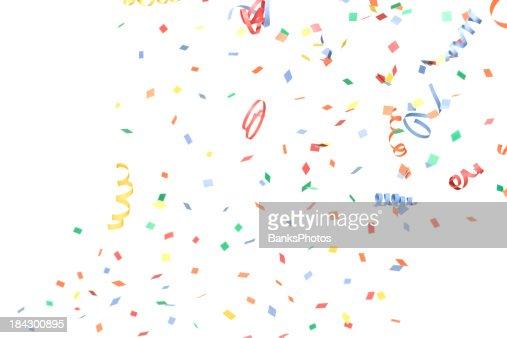 Papel Confete e Streamers cair, isolado a branco