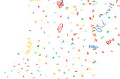 'Paper Confetti and Streamers Falling, Isolated on White'