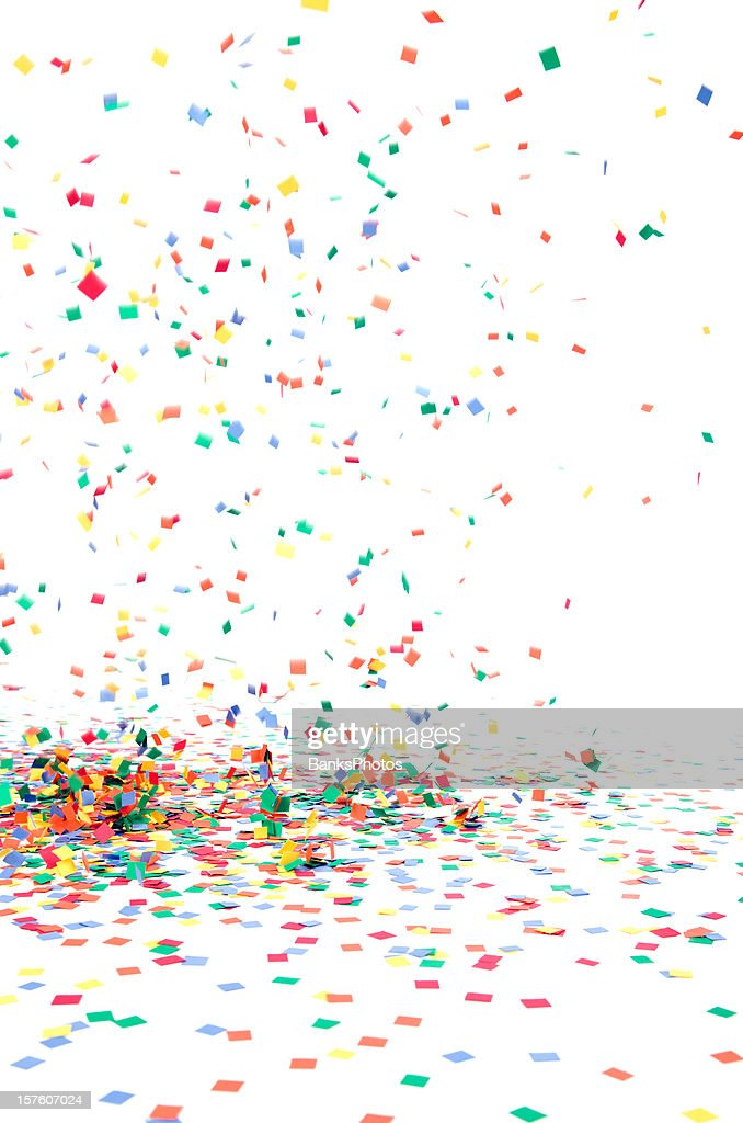 Paper Confetti Falling to Floor, Isolated on White