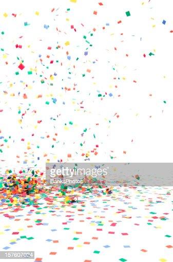 Papel Confete cair para o chão, isolado a branco