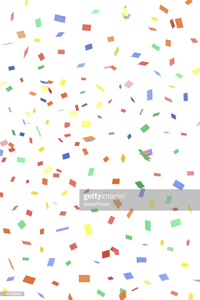 'Paper Confetti Rectangles and Squares Falling, Isolated on White'