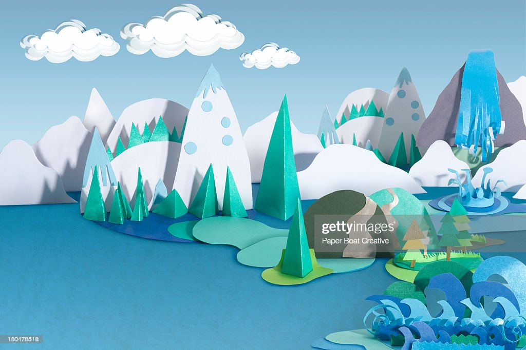Paper Craft Mountains and Sea Landscape