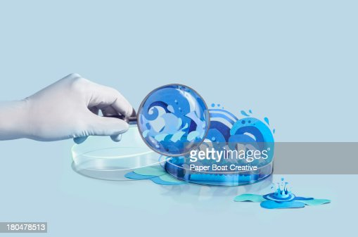 Paper Craft Water splashes inside a petri dish