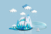 Paper Craft Winter Weather over Icey Blue Mountain