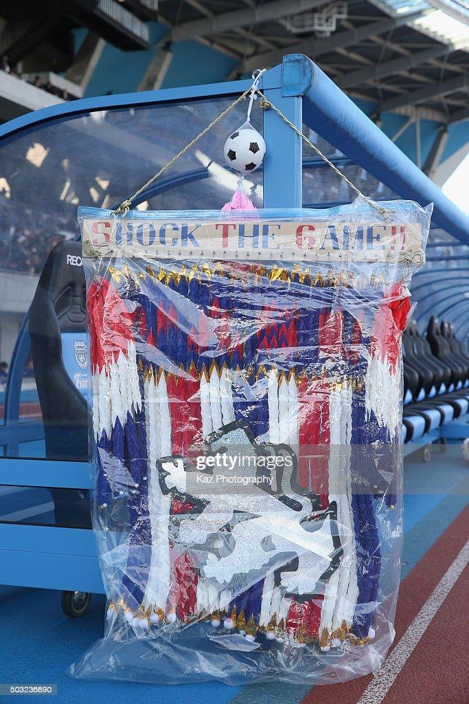 Paper cranes are displayed at the Seiwa Gakuen bench prior to the 94th All Japan High School Soccer Tournament second round match between Aomori Yamada and Seiwa Gakuen at Todoroki Stadium on January 2, 2016 in Kawasaki, Kanagawa, Japan.