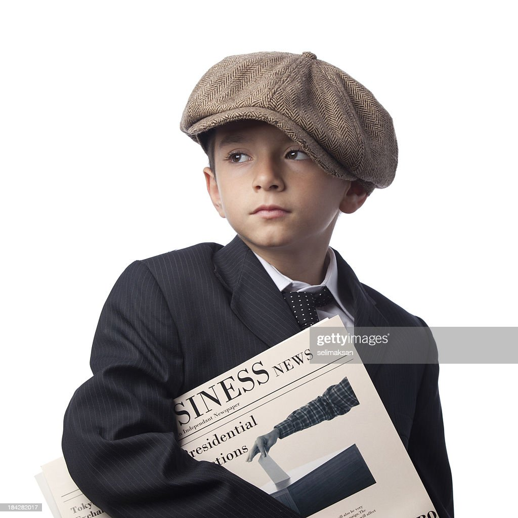 Paper delivery boy holding financial newspaper