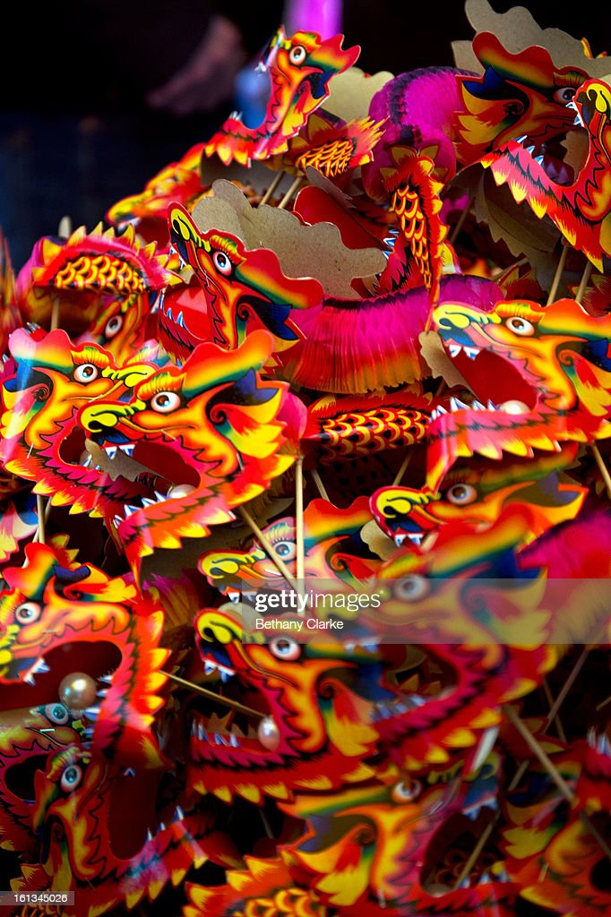 Paper dragons in a toy stall in China Town February 10, 2013 in London, England. London's Chinese community celebrate the start of the Year of The Snake with traditional dancing, music and fireworks.
