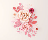 Paper flower craft abstract background, 3d paper art design for wedding, marriage, birthday, Valentine's day, Mothers day greeting card, 3d illustration.