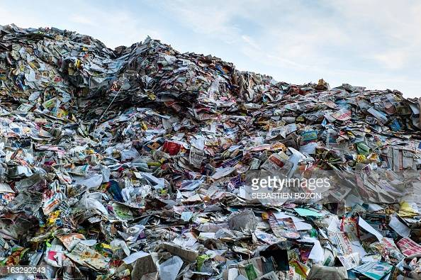 A paper heap is pictured in a recycling centre on March 7 2013 in AspachleHaut part of waste sorting AFP PHOTO / SEBASTIEN BOZON