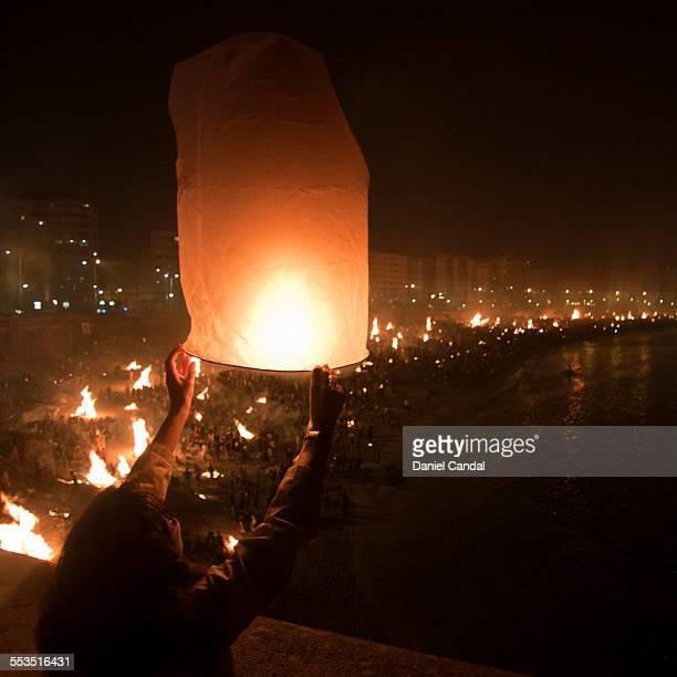 A paper lantern in St John's Eve in A Coruña