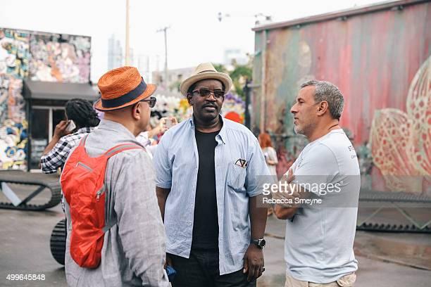 Paper Magazine publisher David Herskovitz rapper Fab 5 Freddy artist Crash at Wynwood Walls during Art Week Miami 2015 on December 2 2015 in Miami...