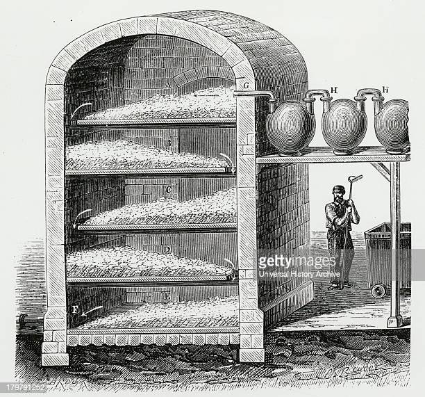 bleaching cleaned rags with chlorine gas Engraving c1870