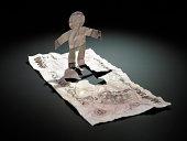 paper man cut out of 1000 Yen note