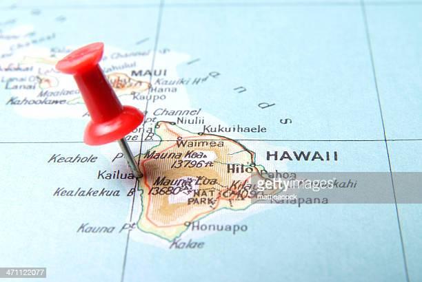紙マップ、ピンで楽しむハワイ
