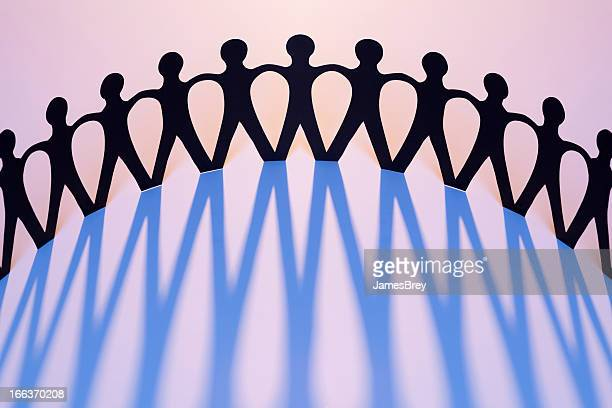 Paper Men Joined Together As Team, Union, Network, Family