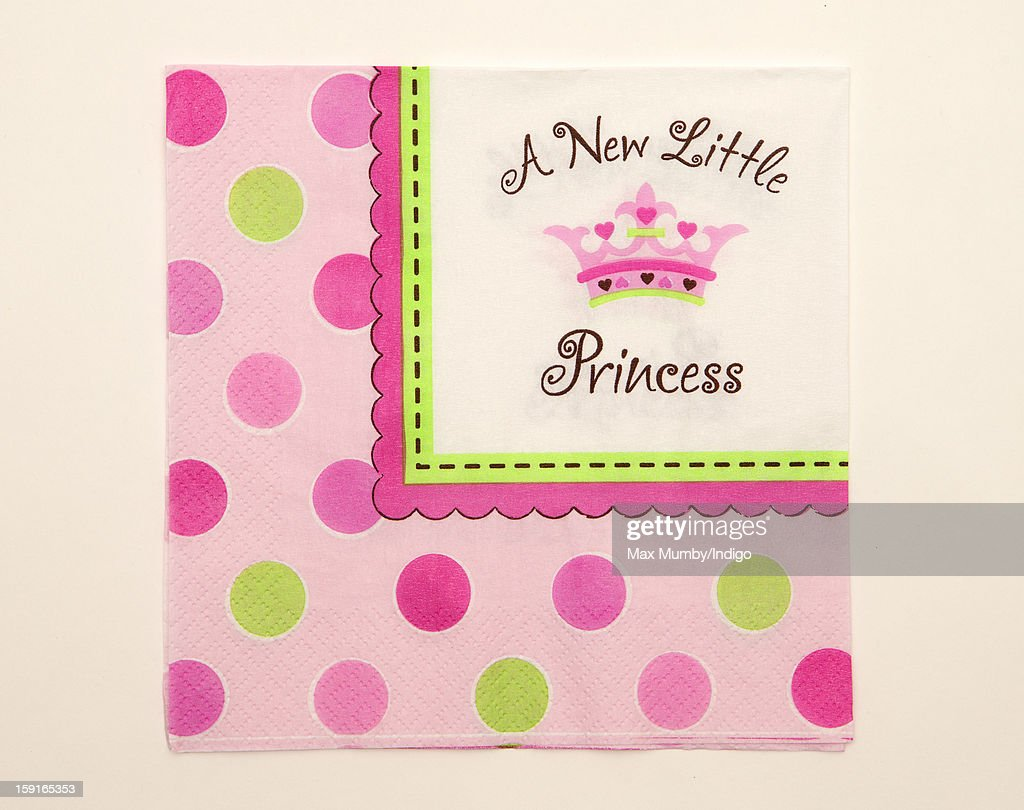 A Paper napkin from the 'A New Little Princess' party range sold by Party Pieces, the company owned and run by Catherine, Duchess of Cambridge's parents Carole and Michael Middleton on January 09, 2013 in London, England. It was announced by Clarence House in December 2012 that Catherine, Duchess of Cambridge is pregnant with her and Prince William, Duke of Cambridge's first child.