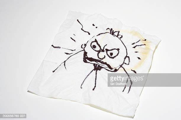 Paper napkin with doodle of man