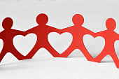 Paper people chain - Unity and love concept
