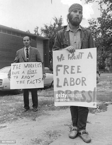 Paper Picketed Larry Buster Rocky Moun­tain Peace Action Council social services director pickets headquarters of the Colorado Labor Advocate a labor...
