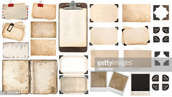 Paper sheets, book, old photo frames corners, clipboard : Stock Photo
