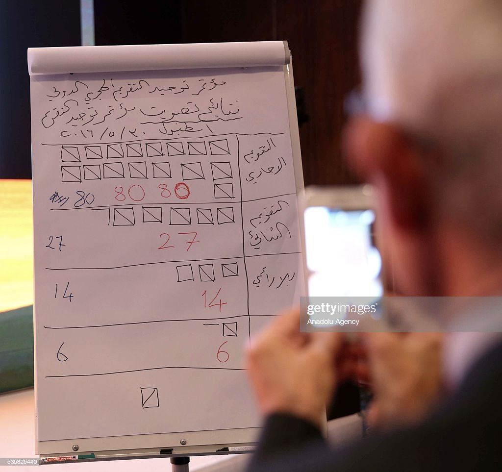A paper showing the results of the voting for a unified calendar for Muslim worship is seen during the International Hijri Calendar Unity Congress organized by the Turkish Presidency of Religious Affairs, European Council For Fatwa and Research, Bogazici University Kandilli Observatory and Islamic Crescents Observation Project in Istanbul, Turkey on May 30, 2016.