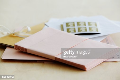 Paper stationery and stamps, studio shot : Stock Photo