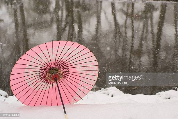 Paper umbrella on snowfield