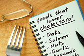 Paper with  foods that lower cholesterol list on a wooden board.